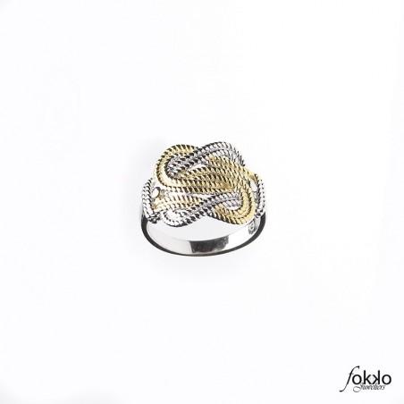 Surinaamse mattenklopper ring zilver/goud