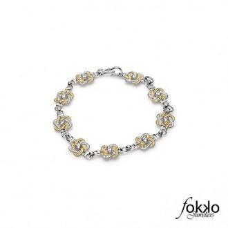 Zilver met gouden mattenklopper armband | Exclusief bij Fokko Juweliers