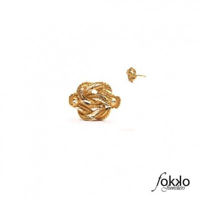 Gouden Surinaamse mattenklopper oorbel | Surinaamse sieraden