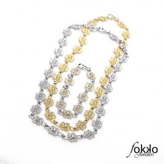Gouden mattenklopper collier   Surinaamse sieraden   Fokko Design