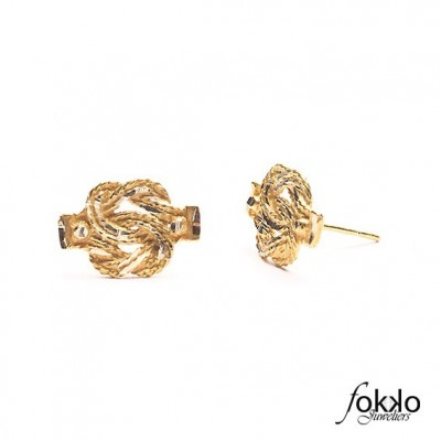 Gouden mattenklopper oorbellen | Fokko Design