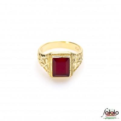Surinaamse ring ingi steen | Ingi sieraden | Rode steen | Winti ring