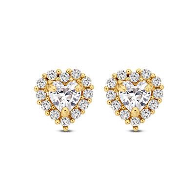 Gouden hart oorbellen zirkonia - 1