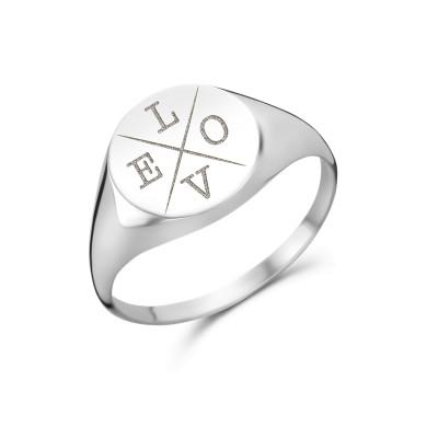 Zegelring met meerdere letters | ring met letters