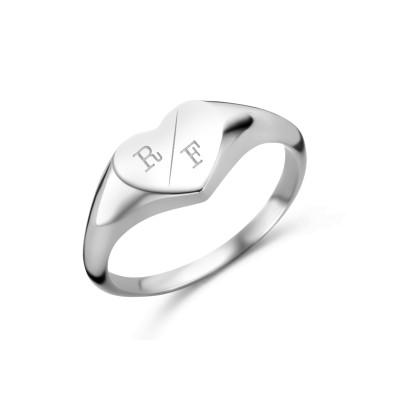 zegelring hart initialen | Letter ring | Gravure ring | graveren ring