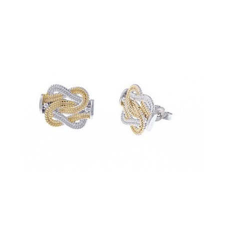 Mattenklopper oorbellen zilver met goud van Fokko Design